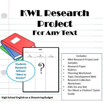 KWL Research Project, Works with Any Text