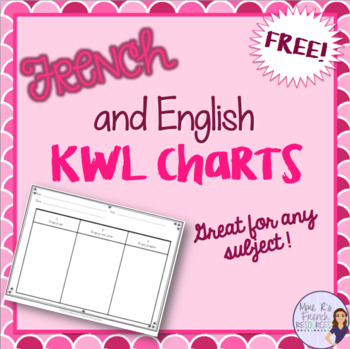 Kwl Charts  In English And In French  Free By Mme RS French Resources