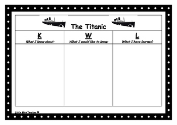 KWL template for Titanic Theme