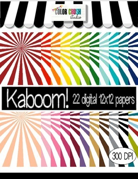Kaboom! 22 Digital Papers For Personal and Commercial Use
