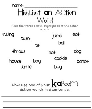 Kaboom! Action Words Literacy Center