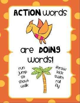 Kaboom! Action Words Literacy Center