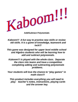 Kaboom!!!  Add/Subtract Polynomials