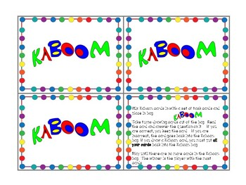 Kaboom Cards for Task Card Games