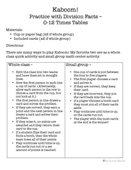 Kaboom! - Division Facts - tables 1 - 12