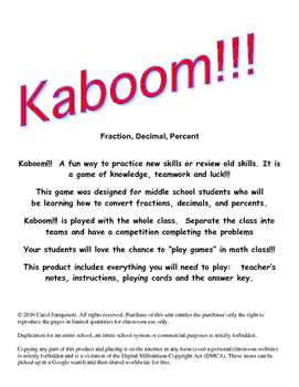 Kaboom!!! Fraction, Decimal, Percent