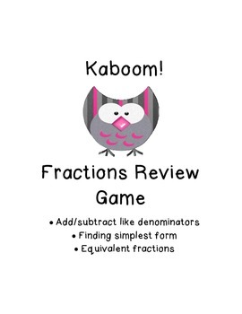 Kaboom!  Fractions Game