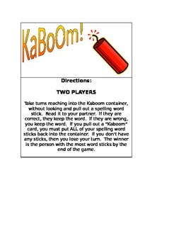 Kaboom Game Directions
