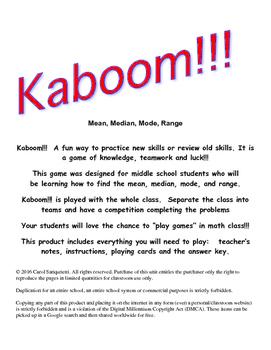 Kaboom!!! Mean, Median, Mode, Range