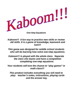 Kaboom!!! One-step Equations