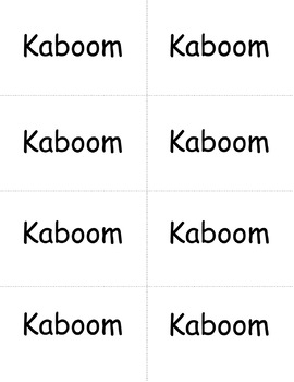 Kaboom Sight Word Game- 40 Dolch Pre-primer words- literacy center game Grade K