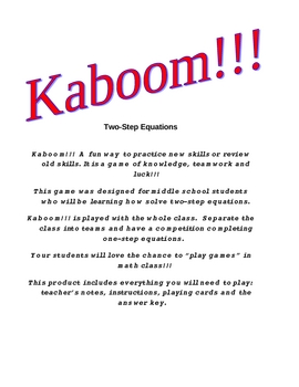 Kaboom!!!  Two-Step Equations