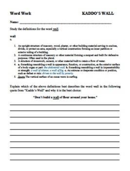 Kaddo's Wall short story questions & writing activity