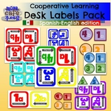 Cooperative Learning Desk Labels Pack BILINGUAL Spanish English