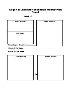 Kagan Cooperative Learning Weekly Plan Sheet