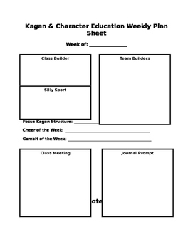 Kagan Cooperative Learning Weekly Plan Sheet