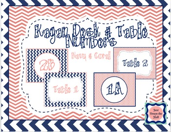 Kagan Desk & Table Numbers- Navy & Coral Chevron Cooperative Learning