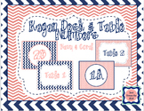 Kagan Desk & Table Numbers- Navy & Coral Chevron Cooperati