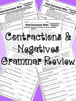 Kagan - Find Someone Who: Contractions Grammar Review