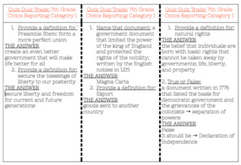 Kagan: Quiz Quiz Trade Civics EOC Category 1