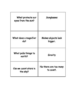 Kagan Quiz Quiz Trade Game Cards for Earth and Sky Science Unit