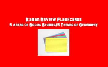 Kagan Review Flashcards – 5 Areas of Social Studies/5 Themes of Geography