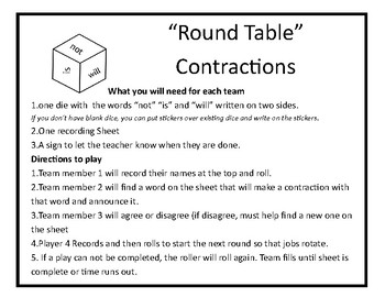 Kagan Round Table Contractions Freebie