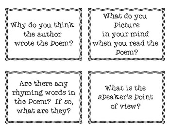 Fan and Select Task Cards for Any Poem