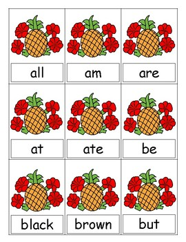 Luau Themed Sight Word Game (Primer)