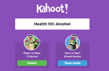 Kahoot: Alcohol- Trivia Game for your Health! *DWI, Tolerance, BAC,  Addiction