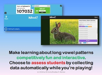 Kahoot Quiz Pack for Long Vowels (First Grade)- Long A, E, I, O, U and Final Y