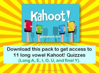 Kahoot Quiz Pack for Long Vowels (First Grade)- Long A, E,