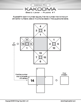 Kakooma Addition Pro Worksheets Basic 4x4 Lite