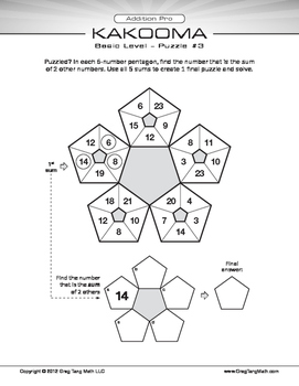 Kakooma Addition Pro Worksheets Basic 5x5 LITE