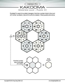 Kakooma Addition Pro Worksheets Moderate 6x6