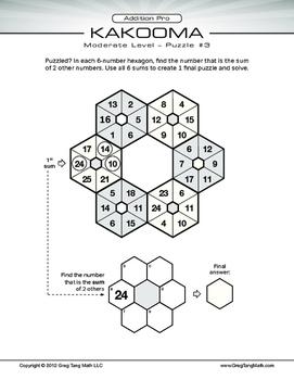 Kakooma Addition Pro Worksheets Moderate 6x6 LITE