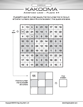 Kakooma Addition Worksheets Advanced 9x9