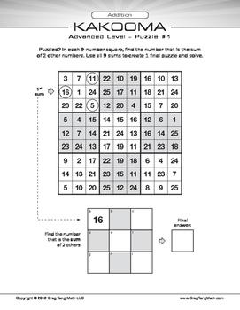 Kakooma Addition Worksheets Advanced 9x9