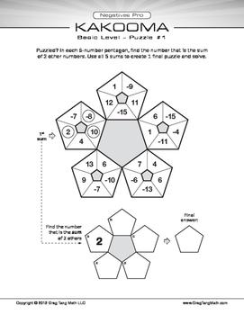 Kakooma Negatives Pro Worksheets Basic 5x5