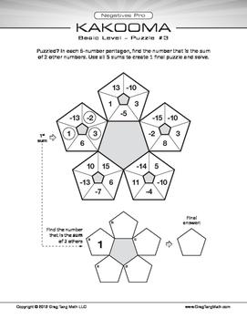 Kakooma Negatives Pro Worksheets Basic 5x5 LITE