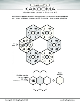 Kakooma Negatives Pro Worksheets Moderate 6x6 LITE