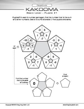 Kakooma Negatives Worksheets Basic 5x5
