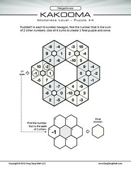 Kakooma Negatives Worksheets Moderate 6x6 LITE