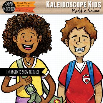 Kaleidoscope Kids: Middle School Kids Clip Art