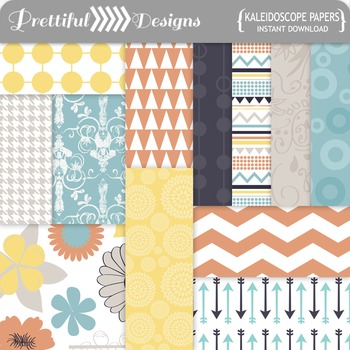 Kaleidoscope Paper Pack in Tribal, Houndstooth, Retro, Mod Patterns