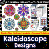 Kaleidoscope and Snowflake Designs- Line, Color, Shape &  Radial Balance in Art