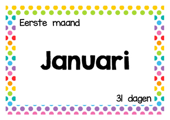 Kalender - Maanden van het jaar - Tekst - Wandplaten - Polka dots multi