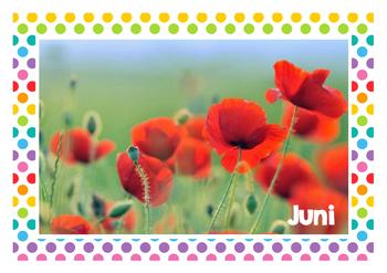 Kalender - Monate des Jahres - Bilder - Wandplatten - Polka dots multi