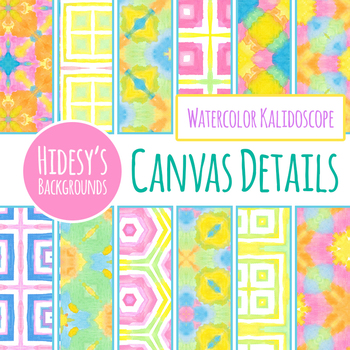 Kalidoscope Watercolor Backgrounds or Digital Papers Clip Art Set