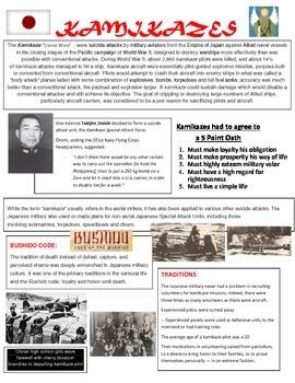 Kamikaze Reading Handout and Kamikaze Worksheet
